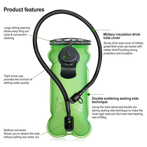 Tagvo Hydration Bladder 3 Liter BPA Free ( 3l 100oz), Leakproof Water Reservoir Large Opening for Ice Cube Filling & Easy Cleaning, Odorless Bag with Insulated Tube & High Flow Locking Bite MouthPiece by TAGVO (Image #5)