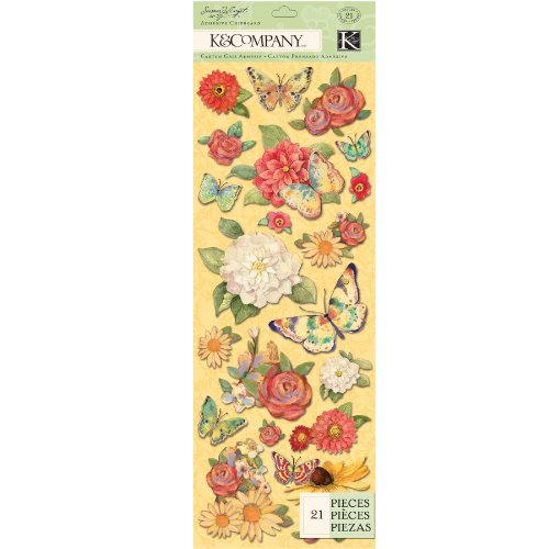 Adhesive Chipboard - EK Success K and Company Susan Winget Meadow Butterfly Adhesive Chipboard