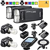 GODOX AD200 TTL 2.4G HSS 1/8000s 2X Pocket Flash Light Double Head 200Ws with 2900mAh Lithium Battery+GODOX AD-B2 Flash Head,BD-07,GODOX XPro-C Flash Trigger Compatible for Canon Camera