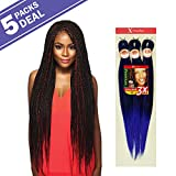 MULTI PACK DEALS! Outre Synthetic Hair Braids X-Pression Kanekalon 3X Pre Stretched Braid 52' (5-PACK, 1B)