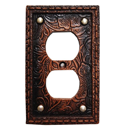 Tooled Leather Floral Design with Rivets Resin Outlet Cover Plate (Cover Floral Outlet)