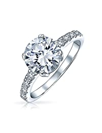 .925 Silver Round 3.5ct CZ Solitaire Engagement Ring with Side Stones