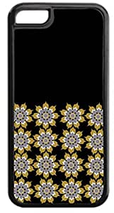 BEIGE Floral Outlines Pattern Hard Plastic Case in black - for the Apple Iphone 5C ONLY