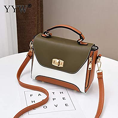 7203a64c3e Amazon.com  Fashion Pu Leather Women Handbag Tote Crossbody Shoulder  Portable Bags Large Capacity Durable Top Handle Hand Bags For Girl Color  army green  ...