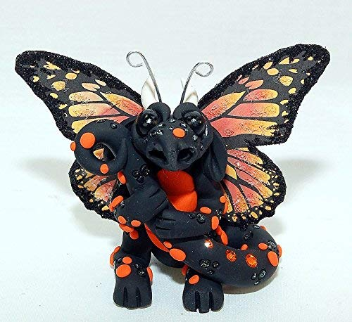Ooak Polymer Clay Monarch Butterfly Dragon Sculpture Fantasy Home Decor Dragonflies Statue and Collectibles