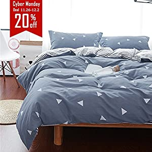 Uozzi Bedding 3 Piece Duvet Cover Set Queen/Full, Reversible Printing with Brushed Microfiber, Lightweight Soft, Comfortable , Durable (Gray-blue, Queen)