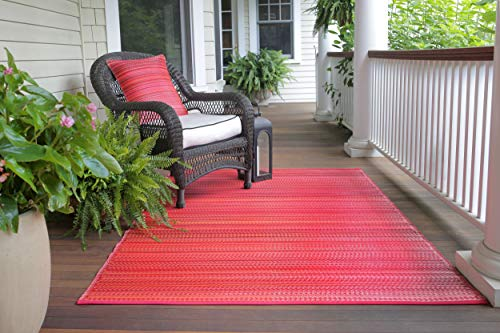Fab Habitat Reversible Rugs | Indoor or Outdoor Use | Stain Resistant, Easy to Clean Weather Resistant Floor Mats | Cancun - Sunset, (6' x 9') - Miami Heat Floor