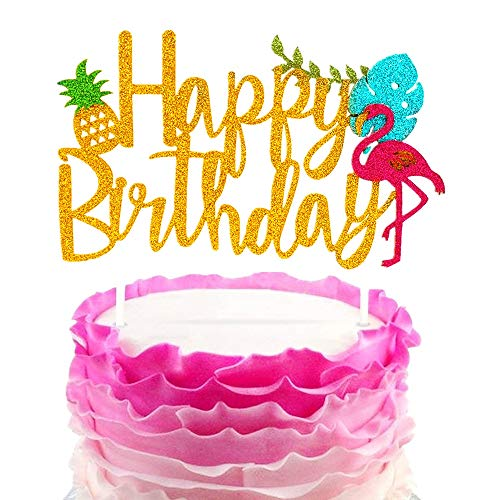 JeVenis Glitter Flamingo Happy Birthday Cake Toppers Pineapple
