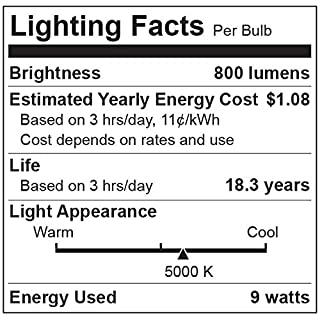 TCP LA950KND6 60 Watt Equivalent LED Light Bulbs Energy Efficient (9W) | Non-Dimmable A19 Shape E26 Medium Base, Pack of 6 Daylight, 6 Lamps