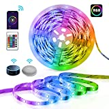 Alexa LED Lights Strip,TECKIN Smart Light Strip 16 Million Color Changing Strip Light with Remote Control, 16.4ft SMD 5050 Tape Lights Apply for TV, Bedroom, Party and Home Decoration