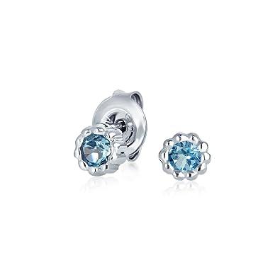 5mm Blue Topaz Gemstone .925 Sterling Silver Stud Earrings December Birthstone