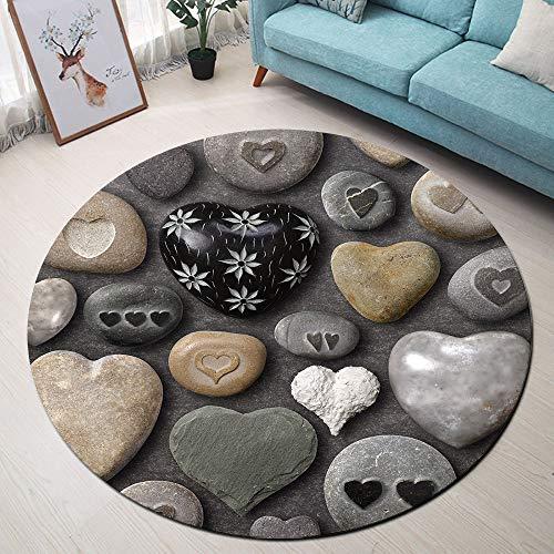 (ETOB Black Grey Love Heart Shaped Stones Area Rugs Cobblestone Memory Foam Non-Slip Round Rug Washable Living Room Bedroom Carpet for Kids Playroom Play Mat Nursery Rugs, Dia. 2'8''(80cm))