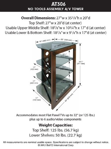 Bell O AT306 Bello No Tools Audio Video Tower Wood-Glass