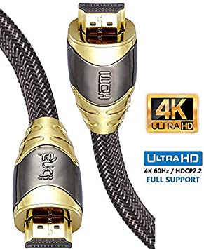 TALLA LUXURY GOLD 3M(3 Metros). IBRA 3M Luxury Cable de HDMI de Ultra Alta Velocidad Cable de 18Gb/s HDMI 2.0b Soporte 4K@60Hz Fire TV, Ethernet, Retorno de Audio,Video UHD 2160p,HD 1080p,3D, Xbox Playstation PS3 PS4 PC