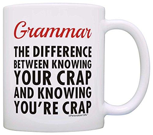 Grammar Joke You You're Crap English Major Grad Office Humor Gag Gift Coffee Mug Tea Cup White