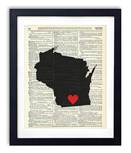 Variety Wisconsin Package (Wisconsin Capital With Heart Upcycled Vintage Dictionary Art Print 8x10)