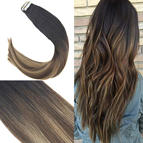 Youngsee 14inch 100% Real Tape in Extensions Remy Hair Balayage Natural Black Fading to Brown with Caramel Blonde Seamless Tape in Hair Extensions 20pc 50g/pack