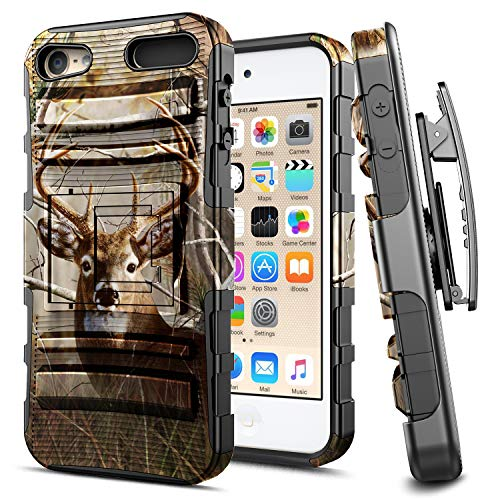 - iPod 5 / iPod 6 Case, iPod Touch 5th / 6th Generation Case, E-Began Belt Clip Holster Kickstand Protective Hybrid Cover Heavy Duty Armor Defender Shockproof Rugged Premium Case -Deer