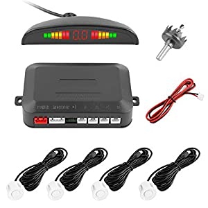 Reversing Sensor, YOKKAO LED Display Auto Rear Reverse Alert System Car Parking Sensor Backup Kit with 4 Sensors (White)