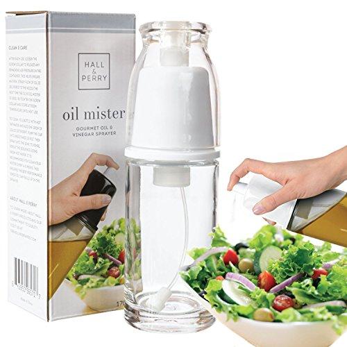 Bottle Gourmet Oil (Oil Sprayer Gourmet Olive Oil and Vinegar Mister and Dispenser | Air Pressure Only Non-Aerosol Clog-Free, White)