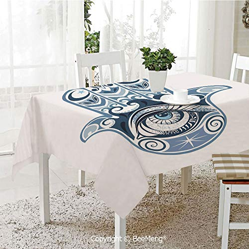 (Spring and Easter Dinner Tablecloth,Kitchen Table Decoration,Evil Eye,Cultural Good Luck Amulet Hand Drawn Artsy Magical Superstitious Sacred,Dark Blue Light Blue,59 x 83 inches)