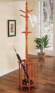 Coaster Home Furnishings Wood Coat Rack with Umbrella Stand, Cherry