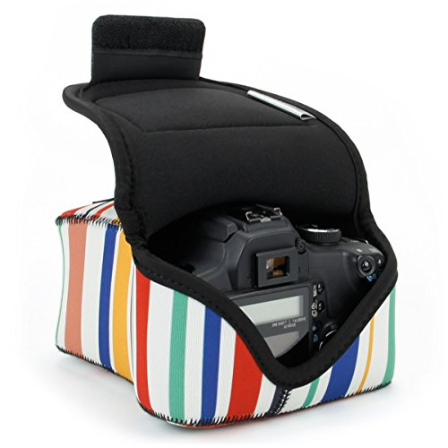 USA GEAR DSLR Camera Sleeve Case (Striped) with Neoprene Protection, Holster Belt Loop and Accessory Storage - Compatible with Nikon D3400, Canon EOS Rebel SL2, Pentax K-70 and Many More