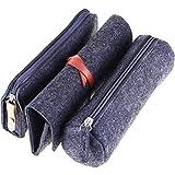 Chengu 3 Pieces Felt Pen Holder Multifunctional Pencil Bag Stationery Pouch Zipper Bag Dark Grey