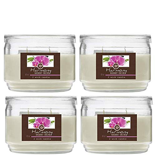 Hosley's Set of 4 Radiant Orchid (Harmony) 2 Wick Candle, 10 oz: Floral & Lemon Grass Notes. Ideal Aromatherapy Gift for Weddings, Special Occasions, Spa, Reiki, Meditation, Bathroom Settings O9 HG GLOBAL H63114WDC
