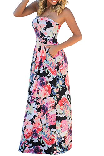 Wedding Pocket Strapless Maxi Black Boho Dress Floral YMING Women's Print Dress xRq0II7