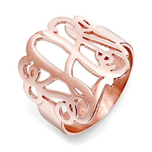 Custom Rose Gold Plated Fancy Script Monogram Ring, ring sizes 4 to 10