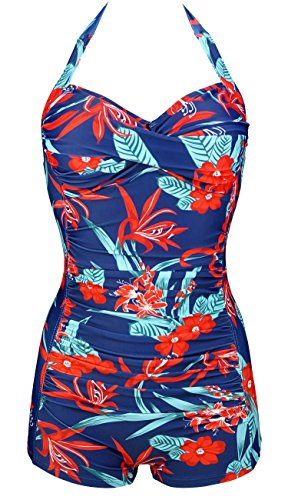 COCOSHIP Navy & Red White pistil Bloom Classic Retro Front Cross Boy-Leg One Piece Vintage Ruched Maillot Swimwear (Classic Maillot Swimsuit)