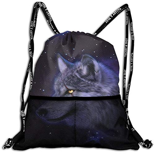 Galaxy Space Lonely Wolf Drawstring Bag Swiming School Cinch Sackpack Large Capacity Beam Backpack, Home Travel Storage Use Gift For Men & Women, Girls Boys