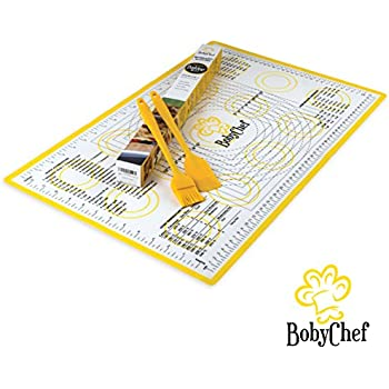 Silicone Baking Mat By BobyChef - Professional Grade - Rolling Pastry Mat With Measurements - 26''x18'' XLarge Size - Reusable Non Stick Non Slip Sheets With Round Corners - Brush and Spatula Incl