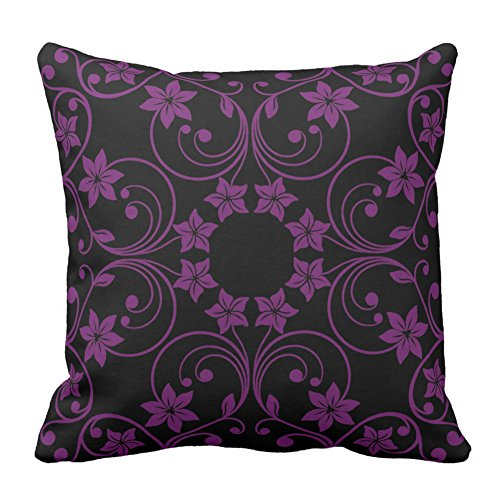 Floral Design Black and Dark Purple Flower Pattern Simple Fashion Pillow Cover Case Square Cushion Cover For Home Decorative, 20X20 - Fakes Oakley