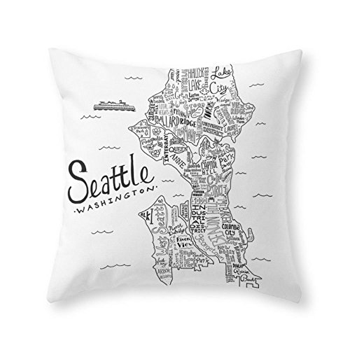 Society6 Seattle Throw Pillow Indoor Cover (20