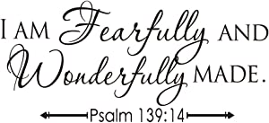 KYSUN I AM Fearfully and Wonderfully Made Psalm 139:14 Vinyl Wall Decal Bible Scripture Inspirational Quotes Wall Art Religious Décor