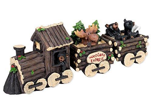 3 Piece Bear and Moose Train Set Decorative Tabletop Figurin