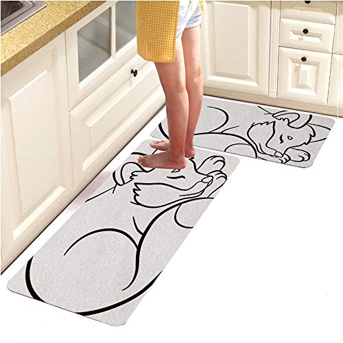 Alphabet Pebbles Page (Rugs Runner Rug -Non Skid Carpet Entry Rugs Runners for Kitchen and Entryway,Coloring Pages Wild Animals Little Cute Fox Sleeps (15
