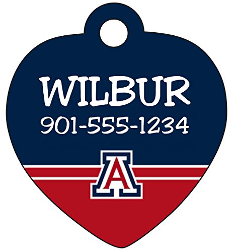 Arizona Wildcats Heart (Arizona Wildcats Personalized Pet Id Tag for Dogs and Cats)
