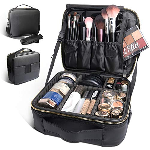 Bvser Travel Makeup Case, PU Leather Portable Organizer Makeup Train Case Makeup Bag Cosmetic Case with Shoulder Strap and Adjustable Dividers for Cosmetics Makeup Brushes Women - Black (Best Cosmetic Train Case)