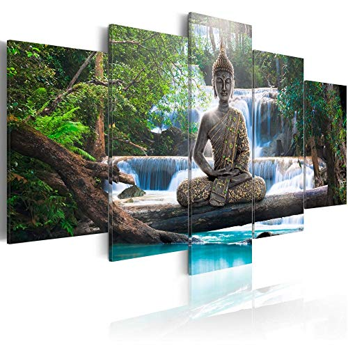 Canvas Print Design Wall Art Painting Decor Zen Decorations for Home Buddha Landscape Artwork Pictures Bedroom (Green, Over Size 60''x30'') (Buddha Art Prints)