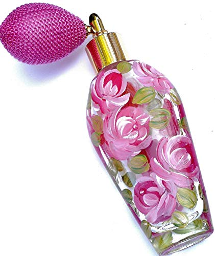 (Elegant Victorian Refillable Fine Mist Glass Perfume Spray Bottle Atomizer with Hand Painted Pink Roses)