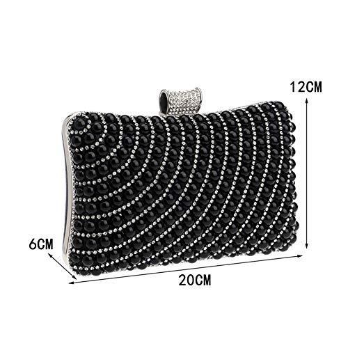 girl Shoulder Maybesky Pearl Package Diagonal women Dinner lady Bridesmaid Clutch Black Ladies Hand Shoulder xx4qwvSB