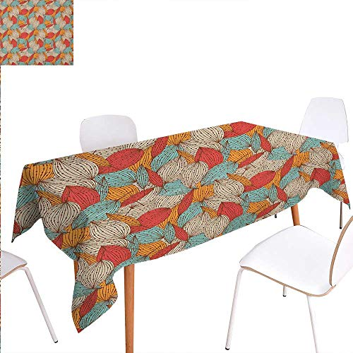 Warm Family Autumn Dinning Tabletop Decoration Doodle Art Style Mix of Leaf Motifs in Retro Colors Romantic Autumn Season Theme Table Cover for Kitchen 70