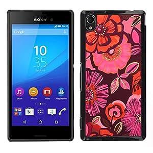 Caucho caso de Shell duro de la cubierta de accesorios de protección BY RAYDREAMMM - Sony Xperia M4 Aqua - flores de naranja floral marrón rosado