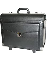 Black Leather Rolling Briefcase Lawyer/Litigation Briefcase Laptop