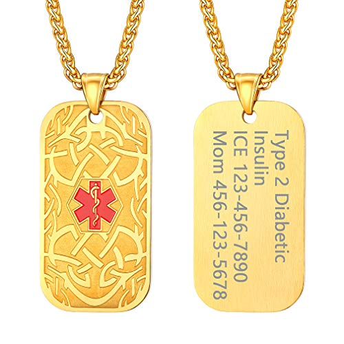 Supcare Emergency Medical ID Alert Leaf Pattern Tag Necklace Engraved Personalized Jewelry Stainless Steel 18K Gold Plated, Custom Free Engraving Pattern Dog Tag Medical Allergy Necklace Jewelry ()