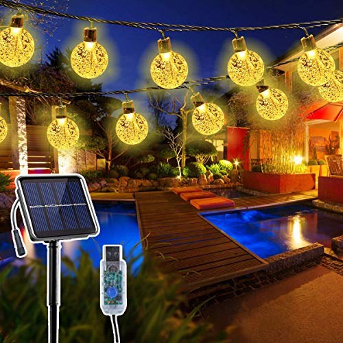 String Lights Solar/USB Powered for Outdoor Indoor Decorations ,23ft 50 LED Globe Twinkle Fairy Lights for Garden Home…