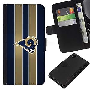 Rams Equipo deportivo - la tarjeta de Crédito Slots PU Funda de cuero Monedero caso cubierta de piel Para Sony Xperia Z2 D6502